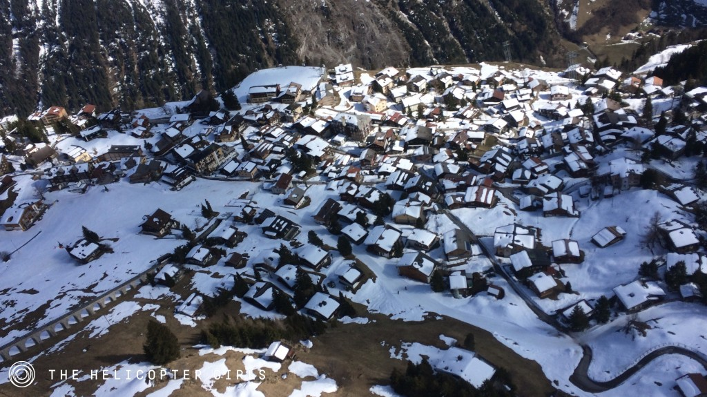 Aerial view of Murren town from The Helicopter Girls ALEXA Mini shoot