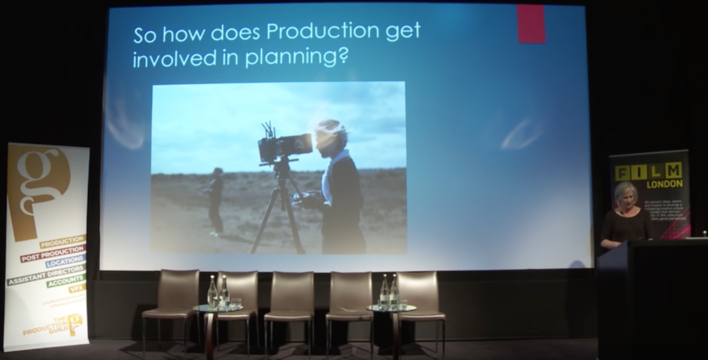 Emma Boswell presenting at Film London seminar for The Production Guild in August 2015.